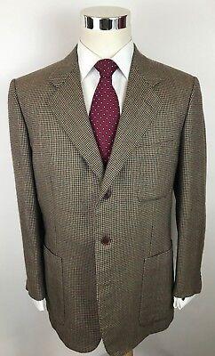 Luciano Barbera 100% Cashmere Houndstooth Windowpane Blazer Sport Coat Men's 42R