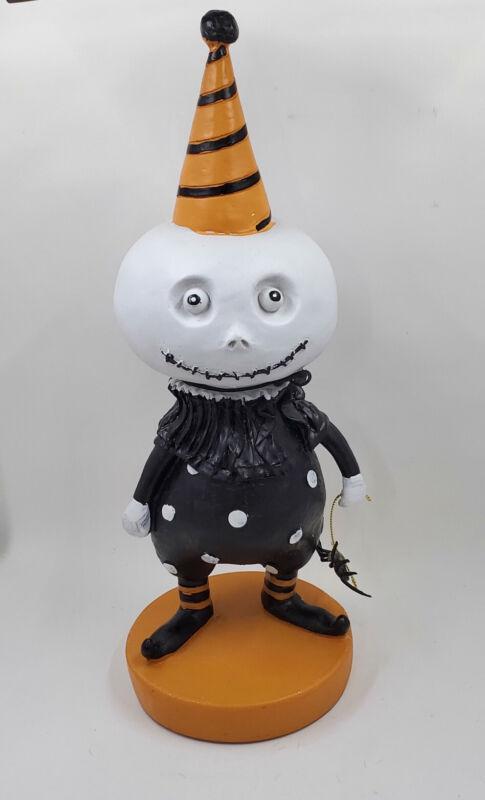 White Pumpkin Head Skeleton Clown Jester Figure With Spider Primitive Halloween