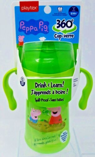 Playtex Peppa Pig 360 Sippy cup new 9M+ 10oz  Drink & Learn Spoutless Cup