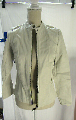 Desa Collection White Leather Jacket Size 4