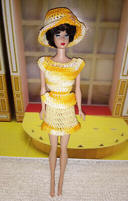 Handmade for Barbie Vintage 1960s Yellow Knit Dress: Top, Skirt & Hat Fashion