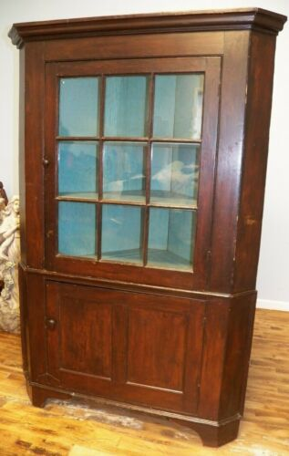 Antique Primitive Corner Cupboard Cabinet Divided Glass Door Pine & Poplar