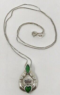 925 Sterling Silver Claddagh Necklace Emerald Green Rhinestone Diamond Chips -