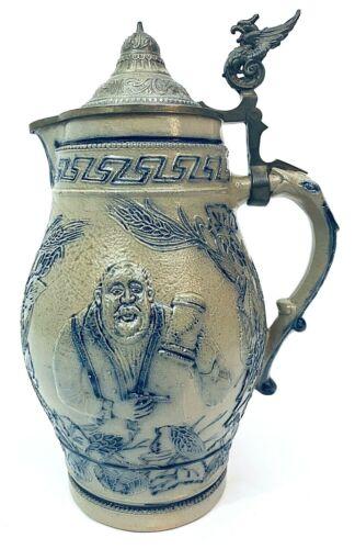 "Antique Whites of Utica / Utica White Beer Stein 2 Liter Stoneware 12.5"" NICE"