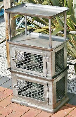Vintage Small Metal Industrial Storage Unit Aged Steel Locker Cage Cabinet