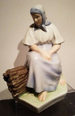 "Antique Zsolnay Lady On Bundle Of Sticks 11"" Figurine. Artist signed Early Mark. for sale  Shipping to South Africa"