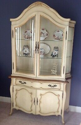 French Carved 2 Door Distressed Finish Curio China Cabinet 45136EC