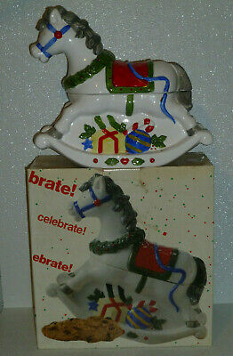 Rocking Horse Cookie Jar Christmas Vtg but NEW In Box Celebrate 10""