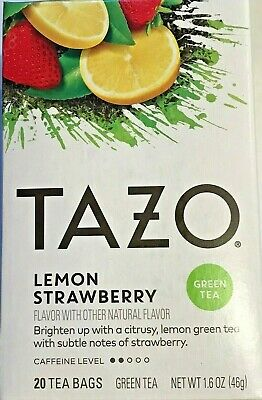 TAZO Lemon Strawberry Flavored Green Tea Bags 20 Filterbags New in Box!