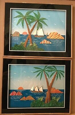 A Pair of Sunny 3D Collage Pictures of a Tropical Sea Scene