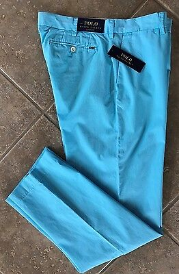 Polo Ralph Lauren Flat Front Chino Pants Mens 34 x 34 Hamm Blue Classic NWT
