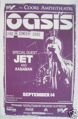 "OASIS & JET ""ON THE ROAD WORLD TOUR 2005"" SAN DIEGO CONCERT POSTER - U.K. Rock"