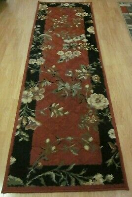 Kathy Ireland Home Runner Rug Carpet Red Black White Flowers 7'8''x2'6'' Shaw