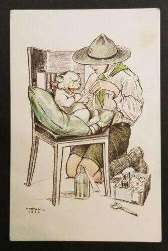 1926 Mint Vintage Hungary Boy Scouts Puppy Portrait Illustrated Marton Postcard