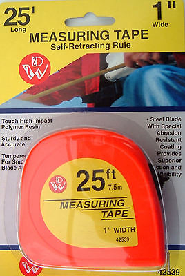 Tape Measure 7.5m / 25 ft 1 inch wide Hi Viz Measuring,Easy find High Visibility