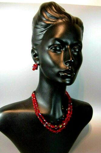 Vintage Sherman Set Red Ruby Crystal faceted Glass Bead Necklace Signed Earring