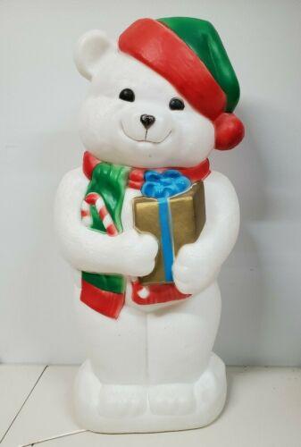 Empire Teddy Bear Blow Mold Lighted Christmas Present Yard Decor Holiday Vintage