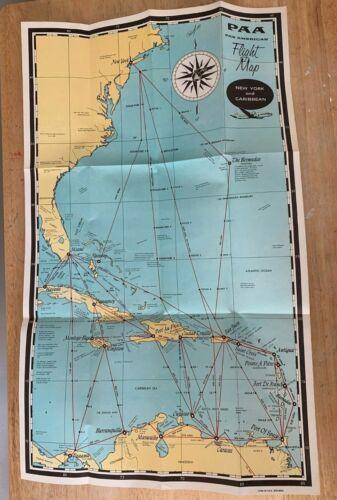 Pan American Airways New York - Caribbean Flight Map, Orig. 1950 Buy Now