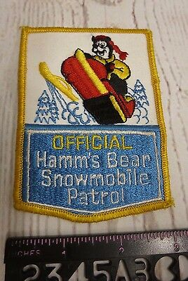 Official Hamm's Bear Snowmobile Patrol Sew on Patch - * Vintage / Rare *