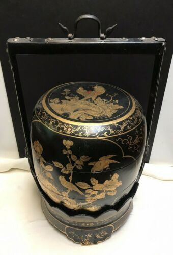 """LARGE ANTIQUE Black And Gold Lacquer CHINESE WEDDING BASKET-3 TIER-20"""" TALL"""