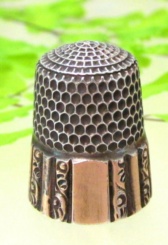 LOVELY ANTIQUE SIMONS BROTHERS STERLING THIMBLE WITH GOLD BAND ~MARKED MAY 1889