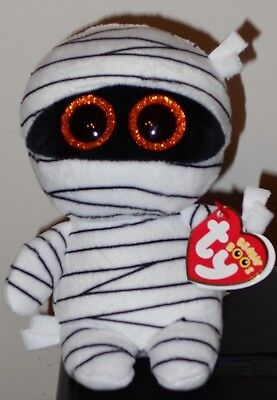 """Ty Beanie Boos - MUMMY the 6"""" Exclusive Halloween White Mummy ~ 2017 NEW IN HAND"""