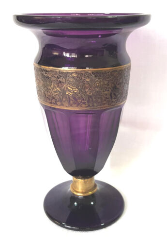 """Antique MOSER Amethyst Faceted Warrior Frieze Scene Vase Art Glass Czech 7½""""Tall"""