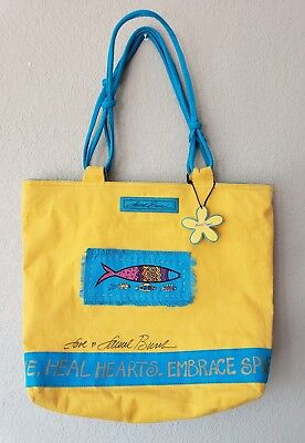 NWOT Laurel Burch Big Canvas shoulder Bag for Sun 'N' Sand accessories yellow Big Accessories Canvas Tote