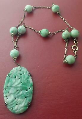"""Art Nouveau Antique Chinese Curved Jade Pendant & Beads Lavaliere Necklace 15"""" L for sale  Shipping to Canada"""