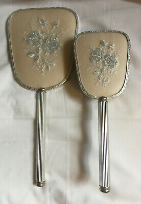 VINTAGE Dressing Table Vanity Cream Silver Floral Embroidery Hand Mirror & Brush