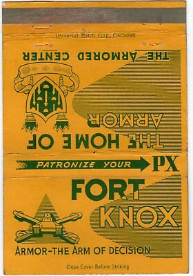 Fort Knox KY Home of Armor Center Matchbook Armor-The Arm of Decision PX LOOK!@! for sale  Louisville