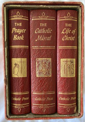 LIBRARY OF CATHOLIC PRESS DEVOTION 3 1954 MISSAL LIFE OF CHRIST PRAYER BOOK  - $42.99