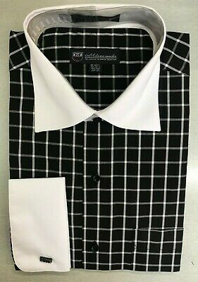 Quality Men's Black/White Check/ Plaids Dress Shirt w/ Spread Neck French Cuff Black French Cuff Shirt