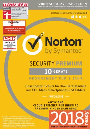 NORTON Internet SECURITY PREMIUM 10-Geräte/1-Jahr 2018/2019 PC/Mac/Android / KEY