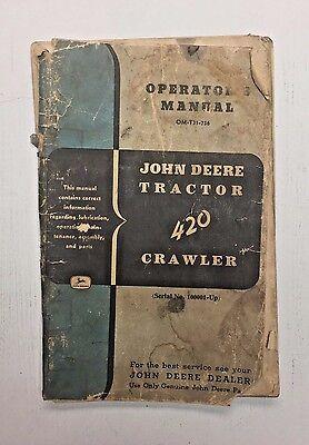 Vintage John Deere Tractor 420 Crawler Operators Manual Shop Dealer 1966