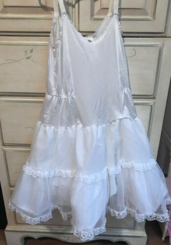 Vintage ALLISON ANN Girls White Dress Slip Size 8 Ruffles Lace Trim Nylon USA