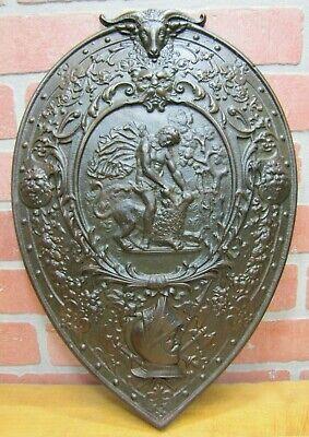 Antique Warrior Griffin Beasts Medieval Cast Iron Decorative Art Shield Plaque