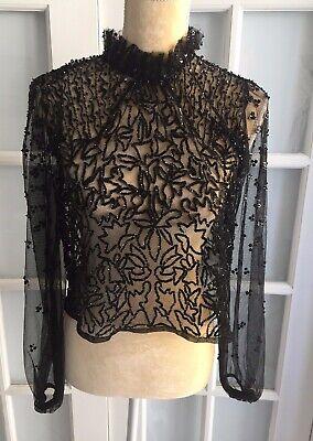 NWT ZARA Black BEADED TULLE BLOUSE Semi- Sheer Sexy Long Sleeve Size M  O1541