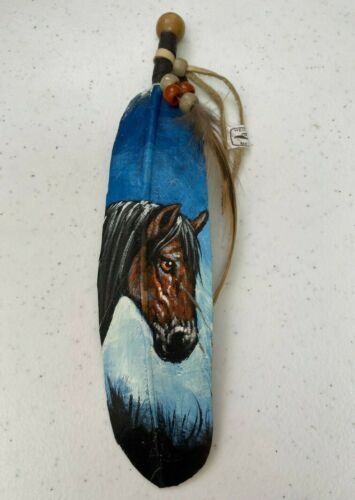 NEW HAND PAINTED FEATHER , ARTS & CRAFTS ,SOUTHWEST ART , NEW , DARK BROWN HORSE