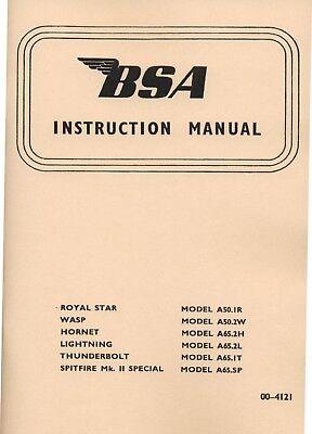 BSA  A50 A65 Instruction Book Spitfire Lightning Thunderbolt Wasp Royal Star