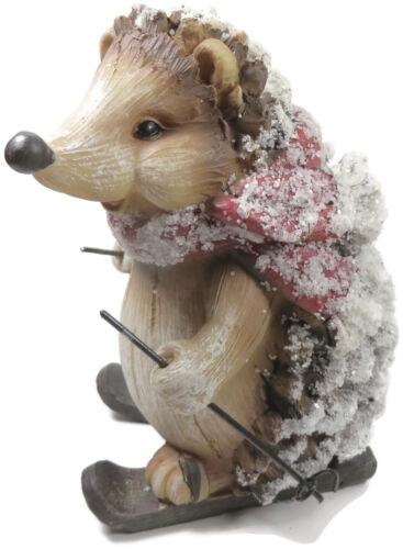 Hedgehog On Skis Figurine Red Scarf Pine Cone Resin Ski Poles Winter Snow Ski