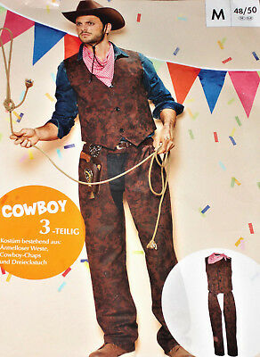 3 tlg.Herren KOSTÜM COWBOY Gr.M L Fasching Karneval Junggesellenabschied NEU