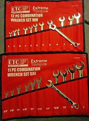 "Special: 2 Six point Combination Wrench Sets SAE 3/8 to 1"" & Metric 8-19mm 6 pt"