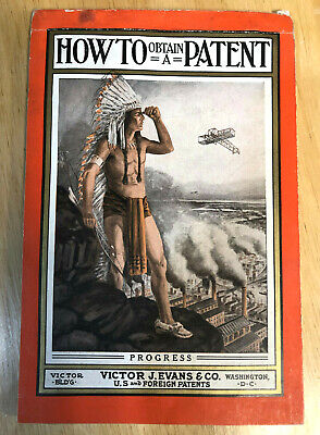 Antique 1900 Victor J. Evans Patent Attorneys Washington American Indian Cover
