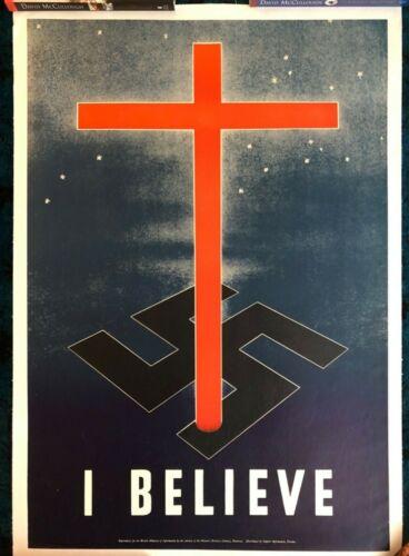 WWII WW2 Original War Poster I Believe Religious Cross Homefront Molson Brewery