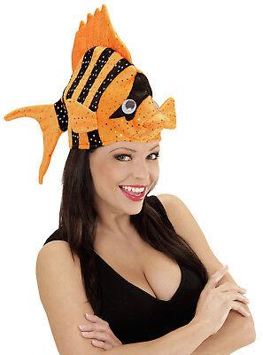 Tropischer Fischhut orange NEU - Karneval Fasching Hut Mütze Kopfbedeckung