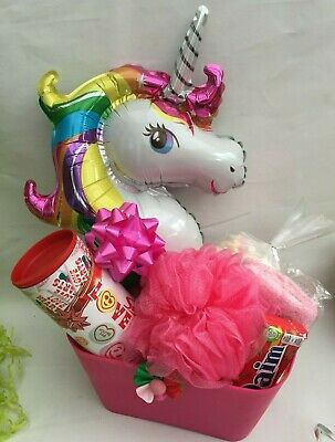 Personalised Birthday Christmas Unicorn Gift Basket Bath Bombs Special Present Christmas Special Gift Basket