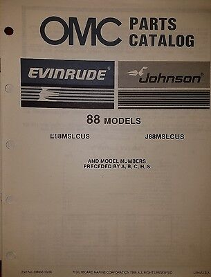1987 OMC OUTBOARD 88 HP MODELS PARTS CATALOG 0398856  10/86