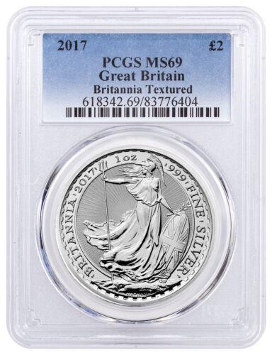 2017 Great Britain 1 oz Silver Britannia £2 - Textured Field PCGS MS69 SKU46297