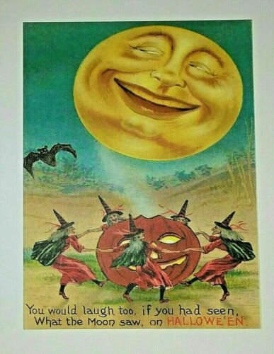 *UNUSED* Halloween Postcard: Laughing Moon, Witches Vintage Image~Reproduction